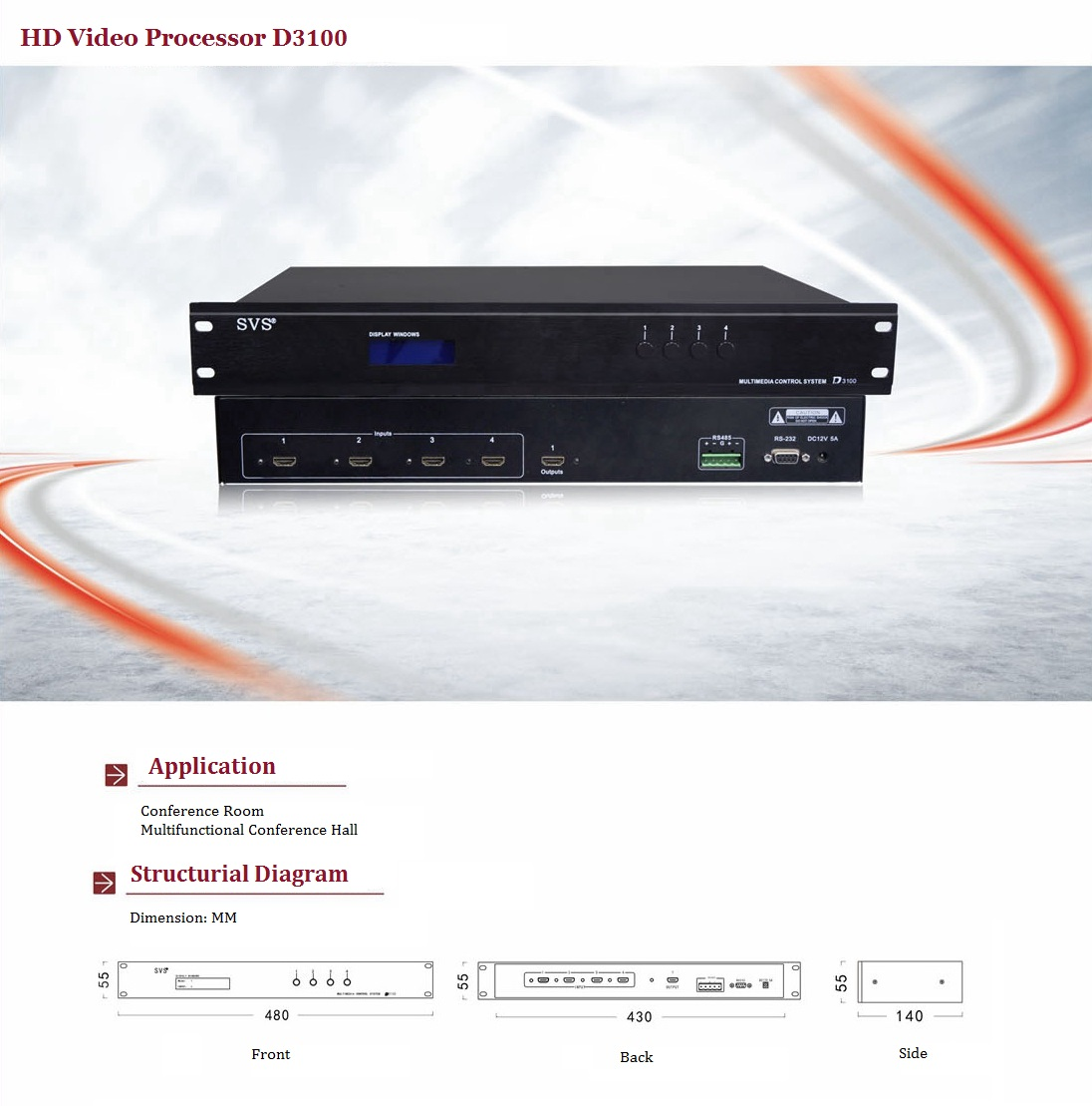 Paperless Conference System HD Hybrid Matrix Central Control System Featured Loudspeaker System