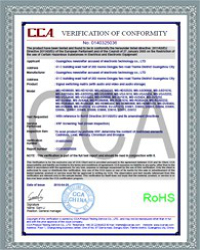 ROHS Certificate for Products